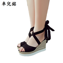 2017 women sandals shoes summer wedges high heels platform shoes band Fish head lace up shoes female thick heel