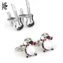 Hot Sale Musical 3D Red White Instrument Drum Violin Guitar Cufflink Cuff Link Boyfriend Brand Cuff Links For Men French Shirt(China)
