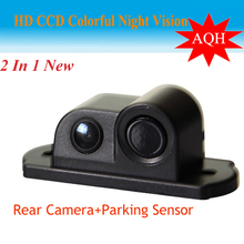2016 New Night Vision CCD Camera Car Rear View Camera With Parking Sensor, Connect Car DVD Monitor Show Distance and Image(China)