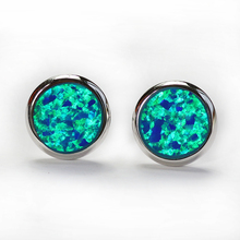 RH0005 Simple Round Stud Earrings Blue Opal Gem Silver Plated Earrings for Women Classic Fashion Jewelry for Wedding Gift ER076