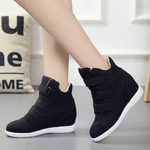 2017 Newest Autumn Winter Outdoor Women High Top Sneakers Hidden Wedges Solid Shoes Ladies Breathable Sport Shoes For Students