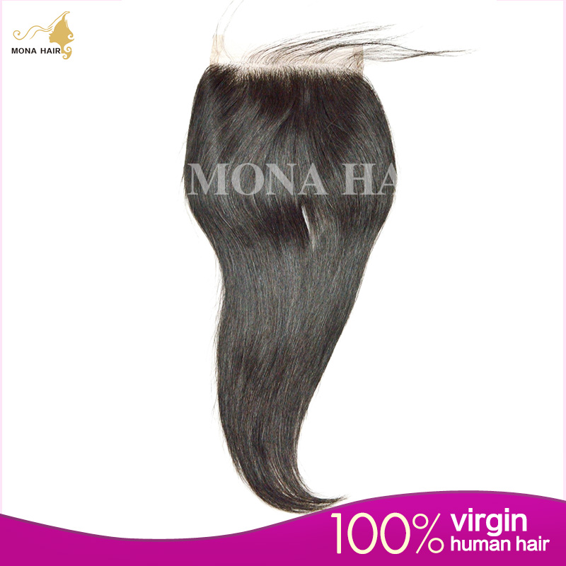 Brazilian Straight Closure 7A 4x4 Brazilian Virgin Hair Closure With Bleached Knots Lace Closure Free Three Middle Part<br><br>Aliexpress