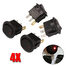 4pcs High Bright Led Button Dot Light 12V 16A Car Auto Boat Round Rocker ON/OFF Toggle Switch