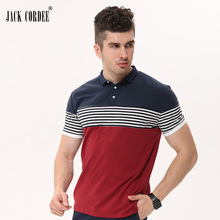 JACK CORDEE 2017 Summer Fashion Polo Shirt Men Patchwork Striped Short Sleeve Cotton Casual Polos Homme Plus Size Brand Clothing