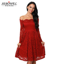 SEBOWEL 2017 Spring Summer Long Sleeve Lace Dress Elegant Vintage Boat Neck Cocktail Party Wear Dresses Cute A Line Club Dress