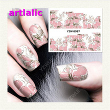 1 sheet Water Transfer Nail Art Sticker Decal Pink Flower 3D Print Design Manicure Tips DIY Nail Foils Decorations 8087