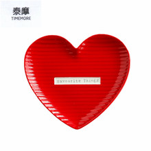 Ceramic Dish peach heart plate red plates and sushi dishes small Snacks dishes white porcelain high-quality dishware and plates(China)