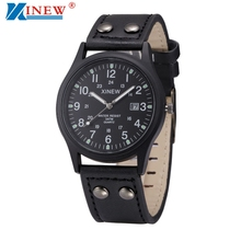 XINEW Leather Strap Watches Men Classic Calendar Date Clock Military Watch Mens Sports Army Quartz Watch Male Hours Relogio #LH
