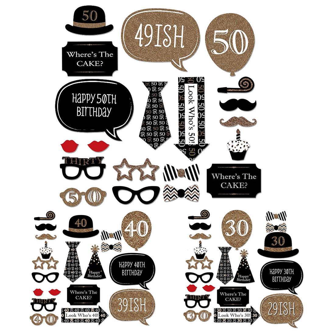 30th 40th 50th Happy Birthday Party Supplies Photo Booth Props 30 40 50 Years Man Woman birthday party decorations photobooth