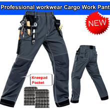 Bauskydd Mens work trousers with eva knee pads grey work pant work wear mechanic pant men multi pockets free shipping(China)