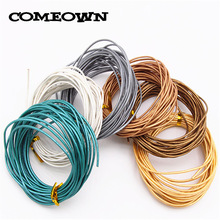 COMEOWN 5m 1.5mm Silver Gray/Gold/Bronze Metallic Color Round Real Leather Cord for DIY Necklace Bracelet Jewelry Leather Cords