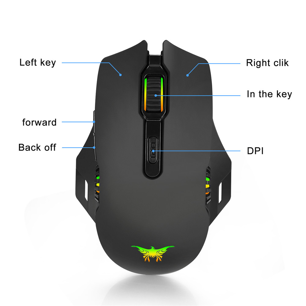 Wireless Wired Rechargeable Breathing Backlit LED 4 DPI 8 Buttons Gaming Mouse