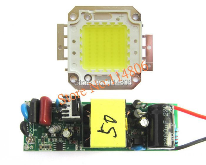 50W Pure White 6000~6500K SMD LED Light Parts + Non-Waterproof AC 85~265V LED Driver<br><br>Aliexpress