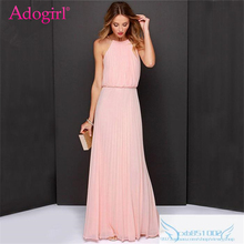 Buy Adogirl Solid 5 Colors Elegant Maxi Chiffon Evening Party Gown Women Sexy Sleeveless Halter Long Formal Dress Summer Beach Wear