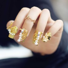 20 Pcs/set 3D Gold Butterfly Metallic Fake False Nail Tips Full Cover Wedding Bridal Nails Art Stickers For Women Lady FM88(China)