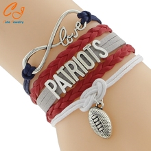 Infinity Love NFL New England Patriots Football Team Bracelet Blue Red Silver White Customize Sports wristband
