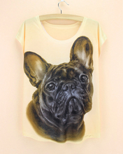 2015 Hot Selling fashion Women T Shirts Short Sleeve french dog Printed T-Shirts Big Size girls Tops fashion design Tee