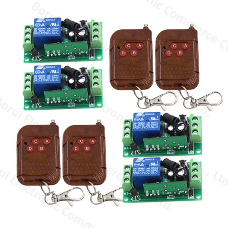 12V 1ch wireless remote control switch system 4 transmitter with 4 receiver relay smart house Free shipping<br>