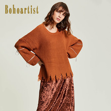 Bohoartist Arrival Ugly Christmas Sweater Girl Round Neck CasualSolid Zipper Fashion Sweater Women Plain Pullover Hole Sequined(China)