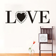Pvc Home Decor Wall Stickers Love With A Lace Romantic Letters Waterproof Vinyl Wall Art Quotes Decal For Bedroom Wedding Room(China)