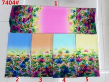 150cm width printed soft chiffon fabric flowers pattern for scarf and headband LS-J7404