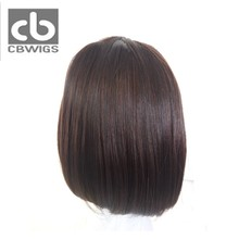 CBCBWIGS #2/33 Mixed Color Machine Made Wig Synthetic Fiber Heat Resistant Black Women Short Bob Wig With Full Bangs(China)