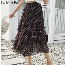 Buy Ruffle Chiffon Skirt Summer 2018 New Arrivals High Waist Skirts Womens Fashion Casual Slim Polka Dot Long Skirt Women Clothing for $12.59 in AliExpress store
