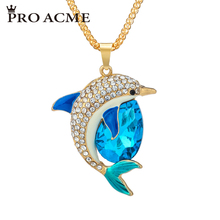Pro Acme Cute Dolphin Necklaces Pendants for Women Crystal Rhinestone Long Necklace Female Sweater Chain Female Jewelry PN0553(China)