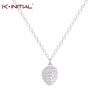 Kinitial 1Pcs 925 Silver Irregular Shape Pendant Pine Cone Necklace Charm Chain Women Girls Sweater Cones Chain Necklace Jewelry