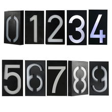 IP65 Waterproof Solar Power 6 LED Light Sign House Hotel Door Address Plaque Number Digital Plate
