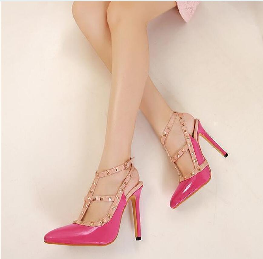 2017 summer big rivet shoes striking color hollow high heels<br><br>Aliexpress