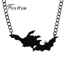 FANHUA Costume Jewelry Gothic Style Black Chain Lovely Animal Bat Necklaces & Pendants Fashion Accessories