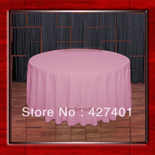 "Hot Sale 132"" R Pink Round Table Cloth Polyester Plain Table Cover for Wedding Events &Party Decoration(Supplier)(China)"