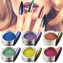 1 Bottle Gradient Shining Nail Art Glitter Dust Chameleon Mirror Effect Powder DIY Decoration Dust Nail Care Glitter BEB801-8800(China)