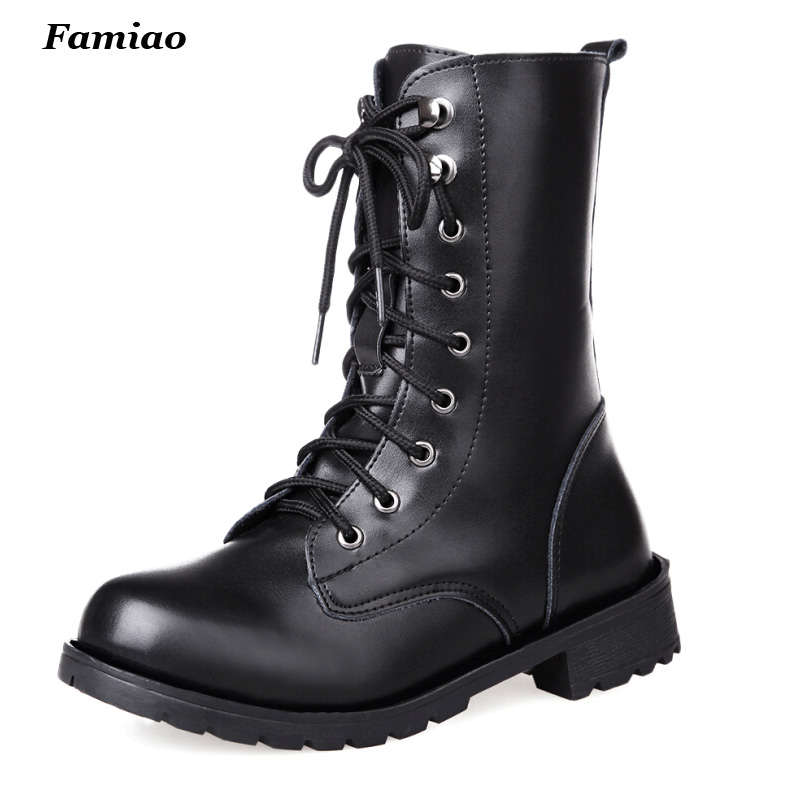 2017 New Arrival Combat Military Boots Womens Motorcycle  Gothic Punk Combat Boots For Female Shoes Size 35-42<br><br>Aliexpress