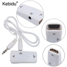 kebidu HDMI To VGA Adapter Converter Cable With Audio Cable Support HD 1080P For PC Laptop(China)