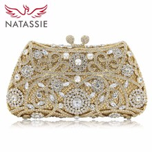 NATASSIE Women Evening Bags Ladies Wedding Party Clutch Bag Crystal Gold Diamonds Purses(China)
