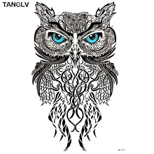 TANGLV Brand Wise Owl Temporary Tattoo Body Art Flash Tattoo Stickers 21*15cm Waterproof Fake Tatoo Car Styling Wall Sticker(China)