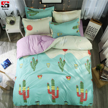 Sookie Cactus Print Bedding Set 3pcs Floral Duvet Cover Sets Soft Bed Cover Home Bedclothes Twin Full Queen King Size Bed Linen(China)