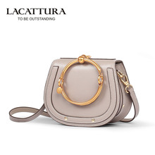 A1358 2017 Lacattura handbags women famous brands women leather shoulder bags girl crossbody bags female big ring bags(China)