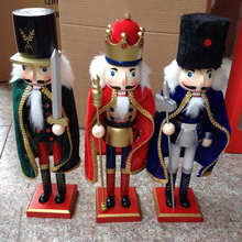 38cm Nutcracker Character Christmas wooden home decoration hand-painted walnut Kings artesanato(China)