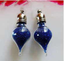 100pieces water drop shape glass vial pendant glass pendant charms mini wishing glass bottle handmade fashion jewelry findings(China)