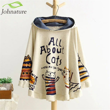 Johnature 2017 New Autumn And Winter Hoodies Hooded Loose Print Cat 2 Colour Kawaii Japan Style Harajuku Hoodies Tops Cute Warm