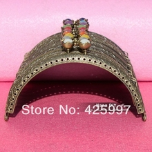 20pcs/lot DIY 12.5cm Colorful Lotus Head Bronze Color Metal Purse Frame Handle for Bag Sewing Craft Tailor , Free shipping!(China)
