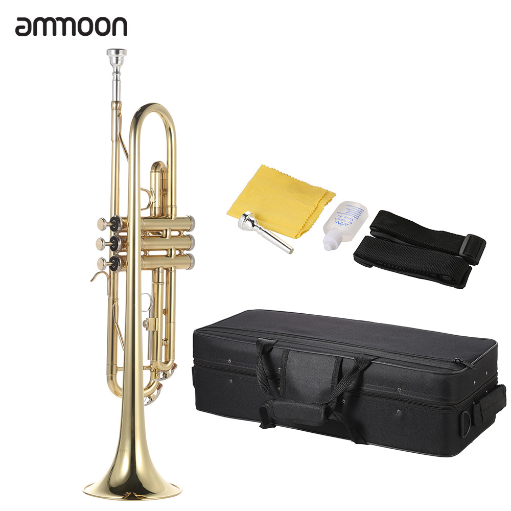 ammoon Trumpet Bb B Flat Brass Gold-painted Exquisite Durable Musical Instrument with Mouthpiece Gloves Strap Case(China)