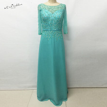 Turquoise Long Evening Dress 2017 New Arrival Formal Mother of the Bride Dresses Beaded Chiffon Gowns Abendkleider Women Courte