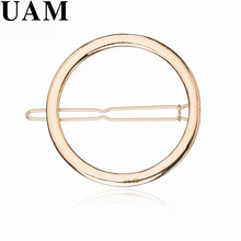 UAM Gold Silver Plated Round Hair Clip Hollow Out Simple Hair Jewelry For Women Wedding Hair Pins Girls Accessories