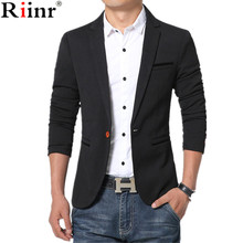 Riinr  New Arrival Luxury Men Blazer New Spring Fashion Brand High Quality Cotton Slim Fit Men Suit Terno Masculino Blazers Men