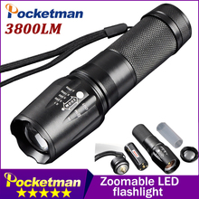 CREE T6 3800 Lumens LED Flashlight Zoomable lanterna Torch linternas LED by 18650/AAA 5 Mode toche lampe customize Drop shipping