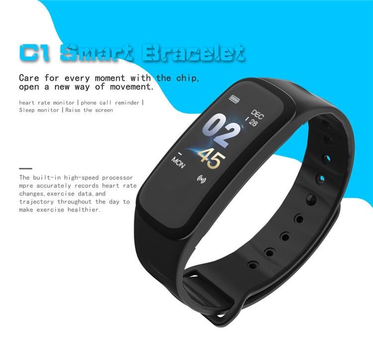 Original C1Plus Smart Bracelet Color Screen Blood Pressure Waterproof Fitness Tracker Heart Rate Monitor pk fitbits miband 3 3